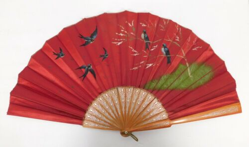 Vintage Silk Fan Hand Painted, Rare Chinese Tulipwood with Silver? Inlay