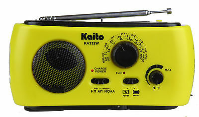 Kaito KA332W Portable Solar Crank AM/FM Weather Radio with Flashlight Yellow