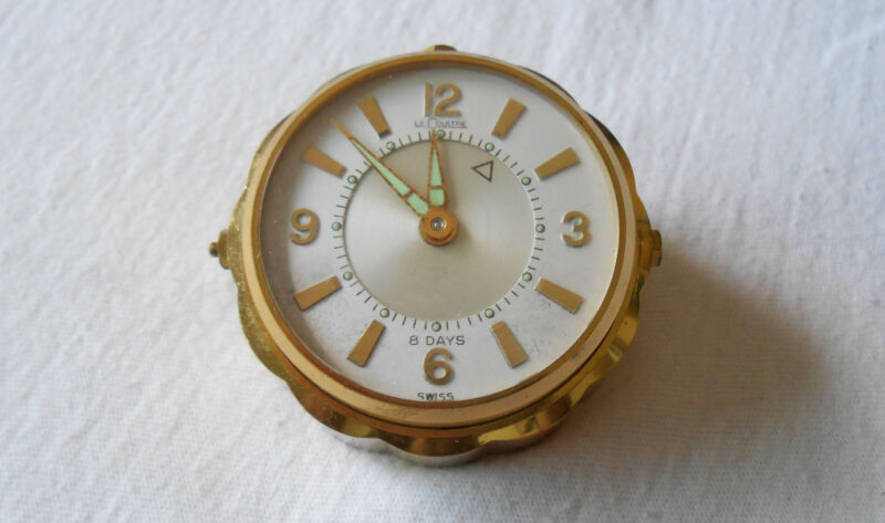 Vintage LeCoultre Brass Alarm Clock ~ Swiss 8 Day Model #60 ~ Working