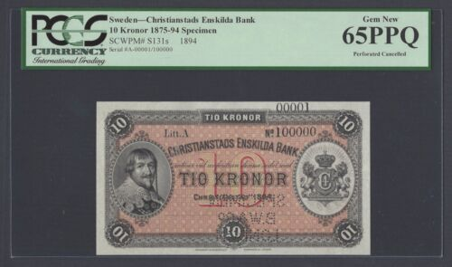 Sweden Christianstads Enskilda Bank 10 kronor 1875 PS131s Litt A Specimen UNC
