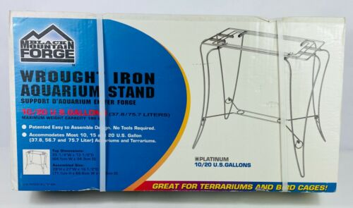 Vintage Wrought Iron Platinum Aquarium Fish Tank Stand 10/20 Gallons