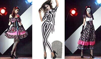 Bew Women Ghost Family Stripe Magician Tuxedo Taro Bride Zombie Cosplay Dress ZG - Zombie Family Costumes