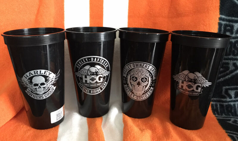 """Harley Davidson New 24oz Stadium Cup, HOG """"Harley Owners Group""""NEW Set Of 4 Cups"""