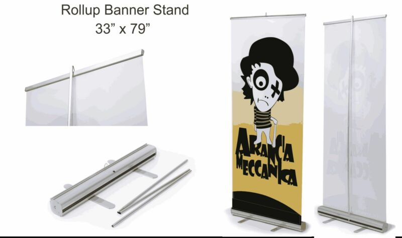 "Retractable Roll Up Banner Stand (Display), 33"" x 79"