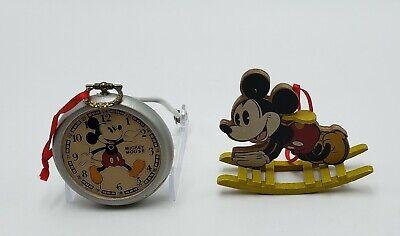 2 VTG Mickey Mouse Pocket Watch & Yellow Rocking Horse Ornaments Kurt Adler 1989