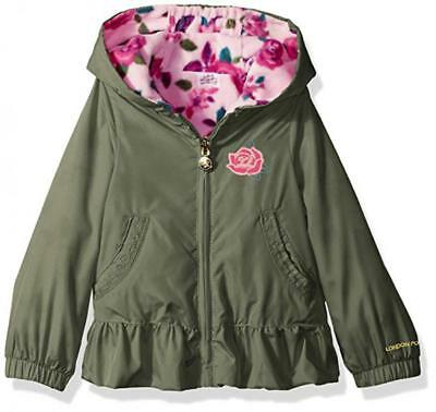 (London Fog Toddler Girls Green Hooded Midweight Jacket Size 2T 3T 4T)