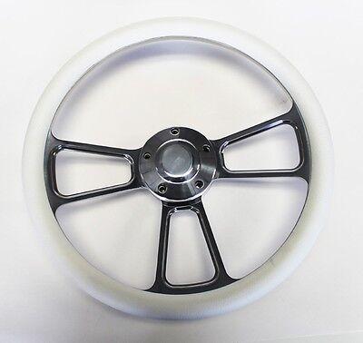 "60-73 Volkswagen Beetle Bug Black Leather /& Billet Steering Wheel 14 3//4/"" VW Cap"