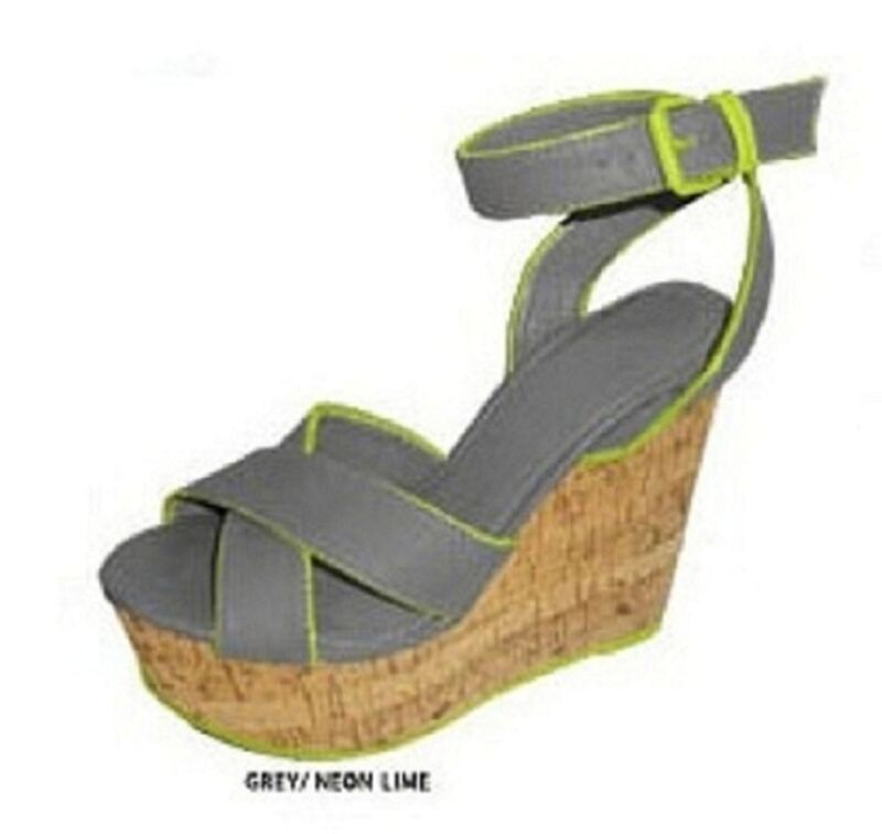 GREY NEON yellow GREEN CORK WEDGE SANDAL gladdiator flip flops SZ 6