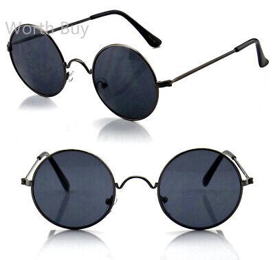John Lennon Sunglasses Round Hippie Hipster Shades Retro Vintage 60s 70s (Black Lennon Sunglasses)