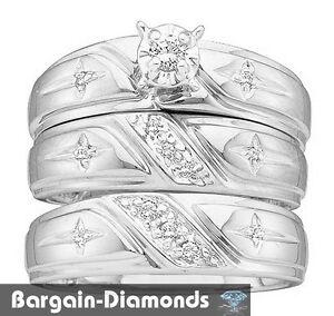 Diamond 3 Ring .20 Carat Wedding Band Set Cross Christian 925 Bridal Groom  Pol