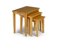 Julian Bowen Cleo Oak Nest of Tables Solid Rubberwood