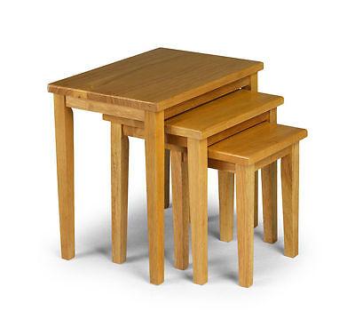 New Julian Bowen Cleo Oak Nest of Tables Solid Rubberwood - Free Delivery