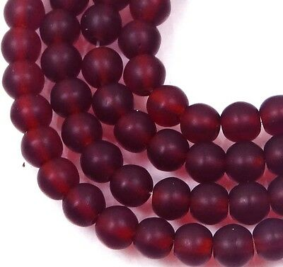100 Czech Frosted Sea Glass Round Beads - Matte - Ruby 4mm