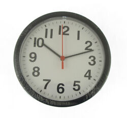 WALL CLOCK IN BLACK 20cm large plastic clear easy view battery