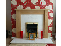Oak fire surround and marble hearth