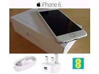 iPhone 6 Silver Boxed With Brand New Apple USB Plug and Lightning Cable.