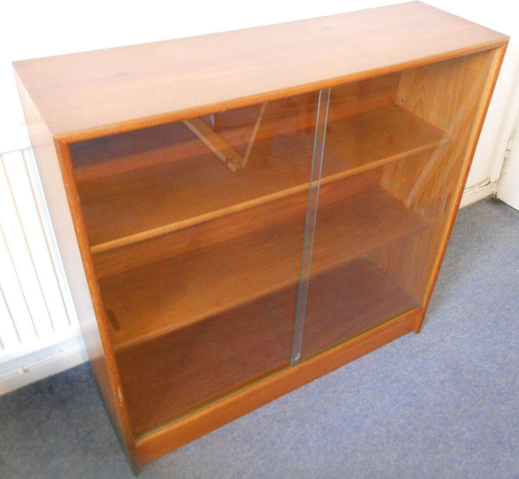 Mid Century Teak Bookcase Or Display Cabinet With Sliding Glass