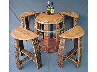 Oak barrel patio decking table and stool set. Solid oak.