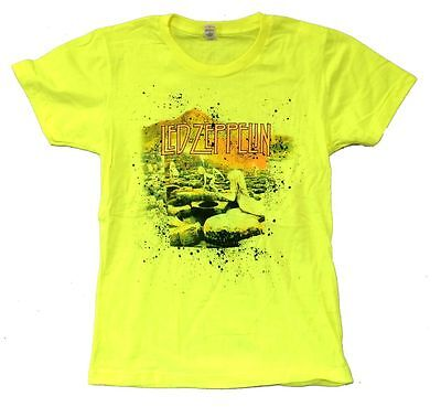 Led Zeppelin Houses of the Holy Neon Yellow Girls Juniors T Shirt New Official