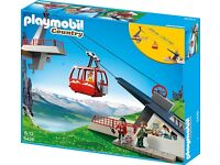 Playmobil Mountain Cable Car, Rock Climbers, Rescue Helicopter and Mountain Lodge Bundle