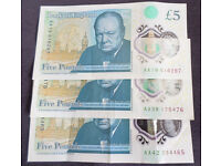 Rare Five Pound Notes £5 AA serial numbers