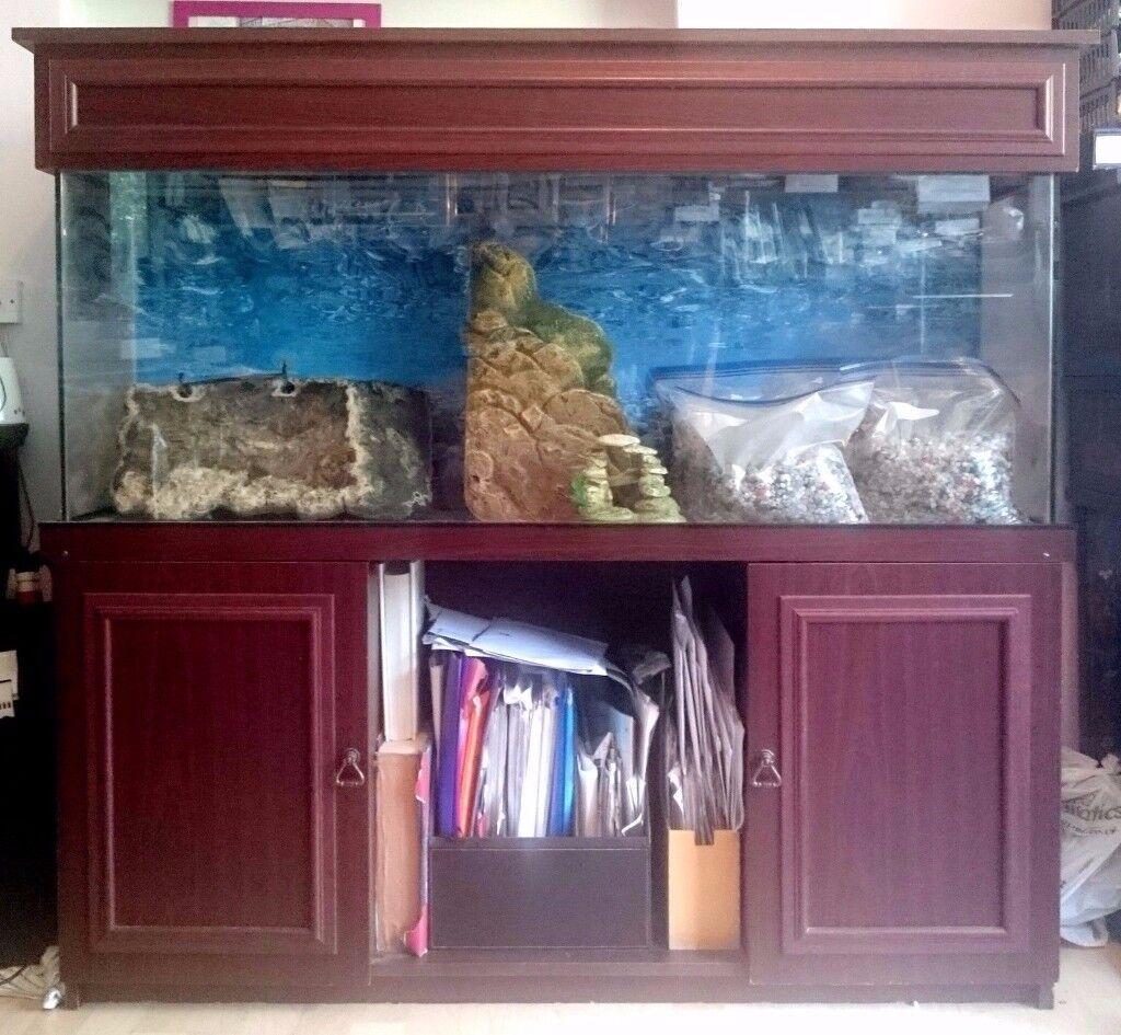 4FT CABINET TROPICAL FISH & REPTILE TANK/AQUARIUM, STONES, ROCK ...
