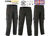 Men's CE Armoured Black Textile Waterproof Motorbike Motorcycle Trousers /Pants