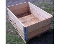 PALLET CRATE SYSTEM WOODEN - IDEAL RAISED PLANTER, COMPOSTER, LOG STORE, BULK STORAGE BOX, DIY