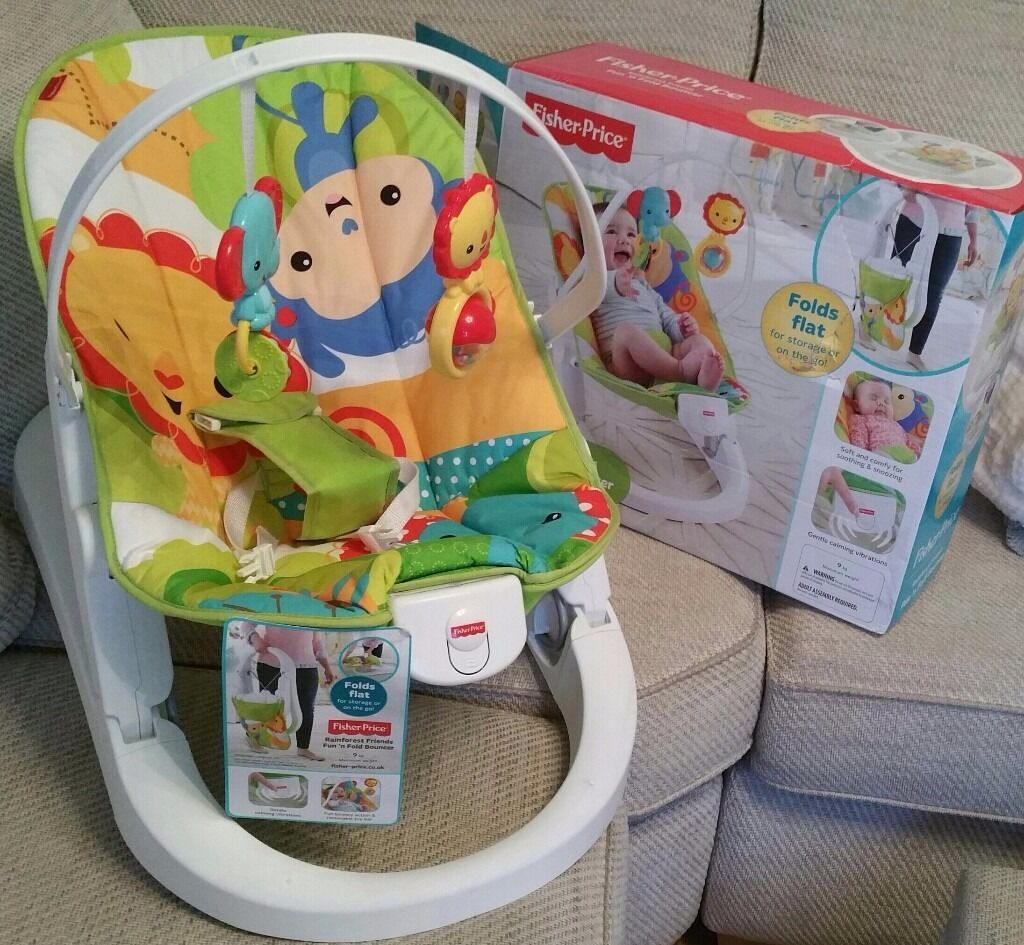 Baby Bouncer Fisher Price Fun N Fold (Bouncy Chair) WITH TAGSin Oakwood, West YorkshireGumtree - Fisher Price Fun n Fold Baby Bouncer (Bouncy Chair). This fantastic chair has hardly been used. As you can see from the pictures it still has the tags on! It vibrates and features a colourful toy bar. It has 4 and a half star reviews on the...