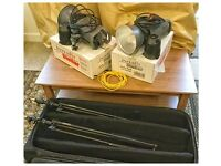 2 x 300W Interfit Stellar studio strobes, and Bowens stands and wheeled case.