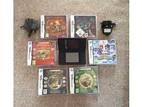 Black Nintendo DS & 6 Games plus 2 power adaptors