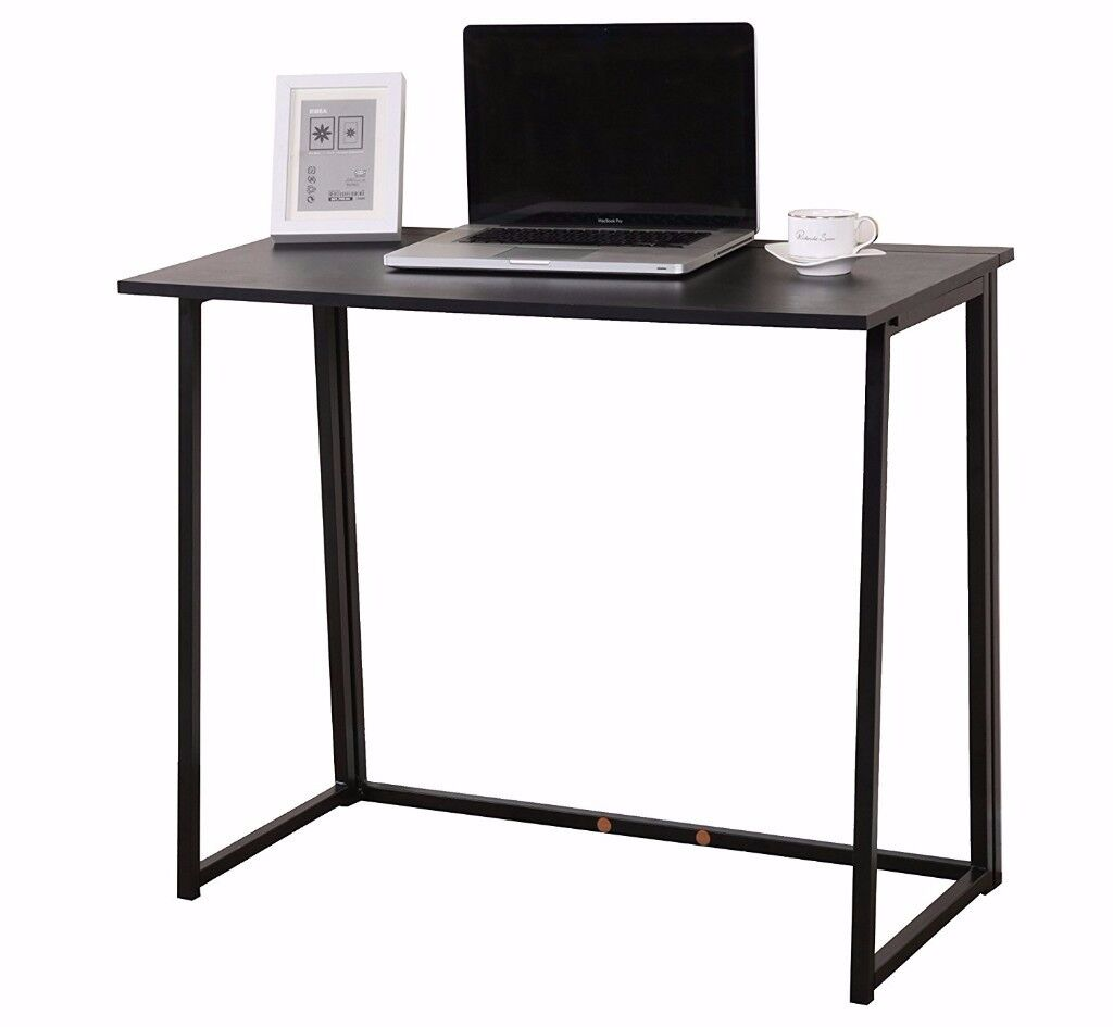 CherryTree Furniture Compact Folding Desk Table in Black