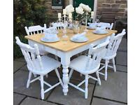 Shabby Chic Farmhouse Dining Table & 6 Chairs