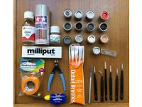 Selection of model aircraft paints, brushes, tools, glues and fixers. Airfix. Revell. Tamiya etc.