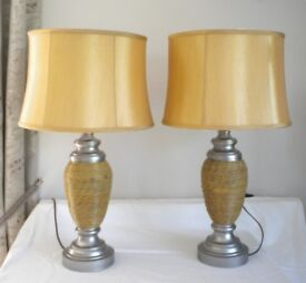 TABLE LAMPS. A PAIR OF MODERN DECORATIVE TABLE LAMPS WITH DRUM SHADES