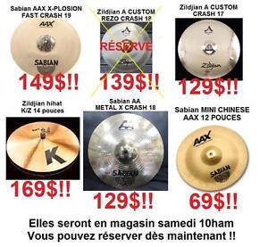 Ces cymbales haut de gammes arrivent SAMEDI - DES PRIX FOU - RÉSERVEZ MAINTENANT
