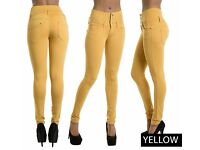 New Women Yellow High Waist Skinny Fit Jeans Stretchy Trousers Pants Size 6 (xs)