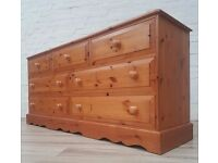 Solid Pine Chest Of Seven Drawers (DELIVERY AVAILABLE FOR THIS ITEM OF FURNITURE)