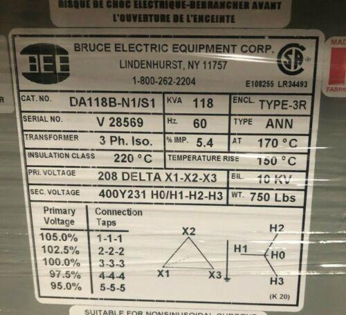 DA118B-N1/S1 REX 118 KVA DIT 208D-400Y/231 2+2-2.5% F.C. TAPS 3PH 60HZ 150  NEW