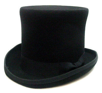 Mens Top Hat Topper Classic Style black wool felt fully lined S-XXL