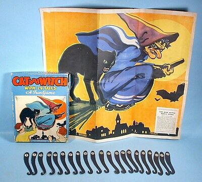 1930-1940s Halloween Black Cat & Witch Pin the Tail Party Game w/Box Whitman - S Halloween Games