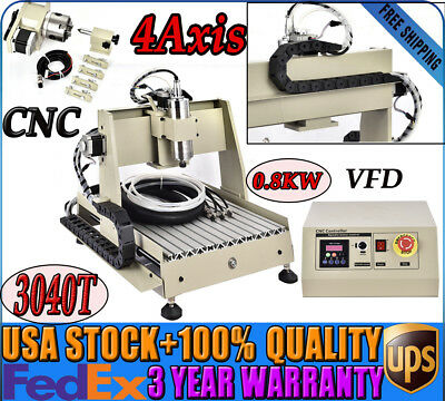 4 Axis 3040t Cnc Router Engraving Drilling Machine Wood Cutter Engraver 800w Vfd