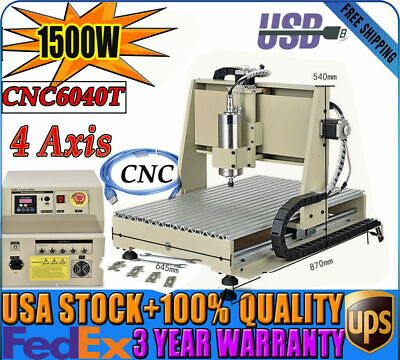 4axis Usb Cnc 6040 Router Engraver Machine 1500w Vfd Cutter Mill Drill Carving