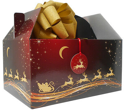 - GIANT XMAS GABLE BOX GIFT KIT - Box, Tissue Paper, Bow & Tag - RED GOLD REINDEER