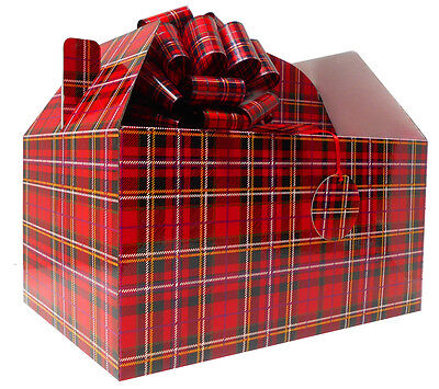 - GIANT GABLE BOX GIFT KIT - Box, Tissue Paper, Pull Bow & Gift Tag - RED TARTAN