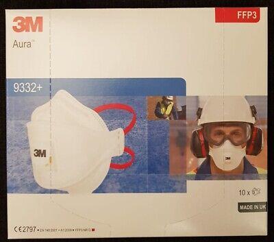 10x FFP3 Maske 3M 9332+ Aura Atemschutzmaske mit Ventil Halbmaske Mundschutz FFP
