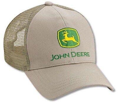 NEW John Deere Tan Khaki Twill Mesh Back Cap JD Logo LP27820 Twill Mesh Back Cap