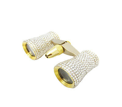 Mini Crystal Gold Binoculars Theater Opera Glasses With Clear Swarovski Crystals