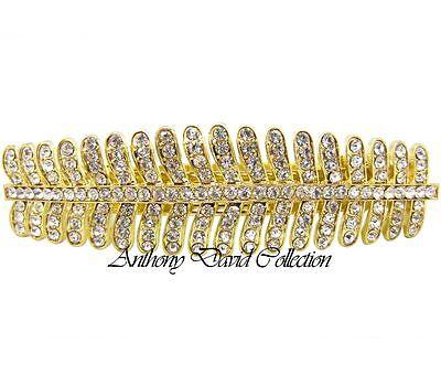 AnthonyDavid Gold Metal Bridal Crystal Hair Clip Accessory w/ Swarovski Crystals