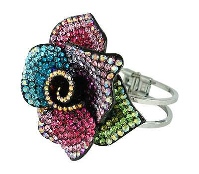 Rose Colored Crystal (Multi-Colored Crystal Rose Cuff Style)